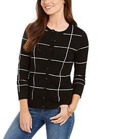 Petite Windowpane Cardigan Sweater, Created for Macy's