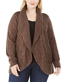 Plus Size Cable Knit Cardigan Sweater, Created For Macy's