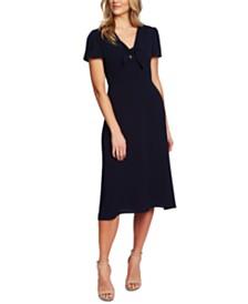 CeCe Tie-Neck Flutter-Sleeve Dress