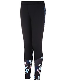 adidas Big Girls D2M Floral-Print Tights