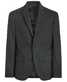 Big Boys Classic-Fit Stretch Charcoal/Wine Red Windowpane Suit Jacket