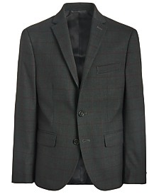 Lauren Ralph Lauren Big Boys Classic-Fit Stretch Charcoal/Wine Red Windowpane Suit Jacket