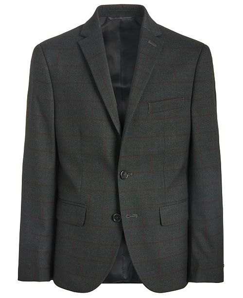 Lauren Ralph Lauren Big Boys Classic-Fit Stretch Charcoal/Wine Red Windowpane Suit Jacket