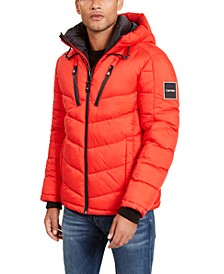 Men's Neon Puffer With Hood, Created for Macy's