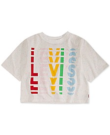 Big Girls Cropped Rainbow-Logo T-Shirt