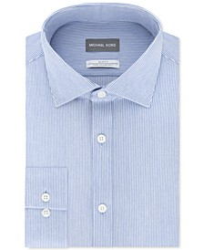 Men's Slim-Fit Non-Iron Moisture-Wicking Blue Stripe Knit Dress Shirt