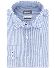 Michael Kors Men's Slim-Fit Non-Iron Moisture-Wicking Blue Stripe Knit Dress Shirt
