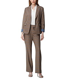 Roll-Cuff Blazer, Pleated Top & Straight-Leg Pants