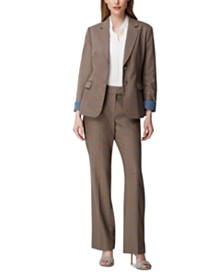 Tahari ASL Roll-Cuff Blazer, Pleated Top & Straight-Leg Pants