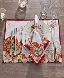Elrene Holiday Turkey Bordered Fall Placemat, Set of 4