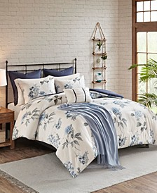 Zennia 7 Piece Printed Seersucker Comforter Set with Throw Blanket