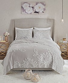 Veronica Full/Queen 3-Pc. Tufted Cotton Chenille Floral Coverlet Set
