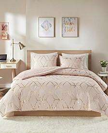 Ainsley King 3-Pc. Metallic Print Reversible Comforter Set