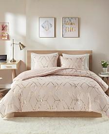 Intelligent Design Ainsley King 3-Pc. Metallic Print Reversible Comforter Set