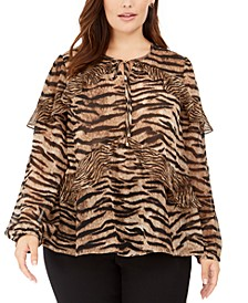Plus Size Tiger-Print Ruffled Top