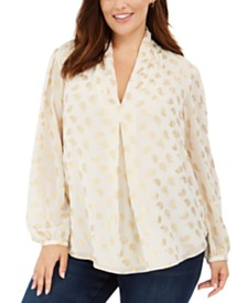 Michael Michael Kors Plus Size Metallic-Print Inverted-Pleat Top