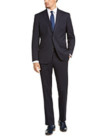 Men's Slim-Fit Ready Flex Stretch Navy Blue Crepe Stripe Suit