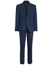 Big Boys Classic-Fit Stretch Navy Blue Mini-Grid Suit Separates