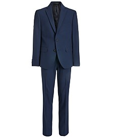 Lauren Ralph Lauren Big Boys Classic-Fit Stretch Navy Blue Mini-Grid Suit Separates