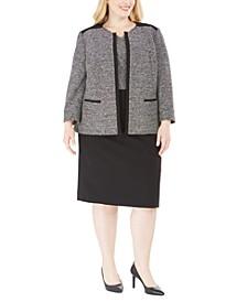 Plus Size Colorblocked Tweed Dress & Jacket