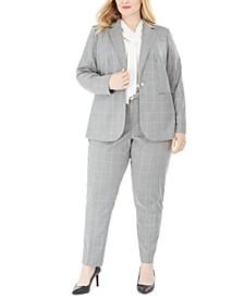 Plus Size Windowpane Plaid Jacket, Tie-Neck Blouse, & Pants