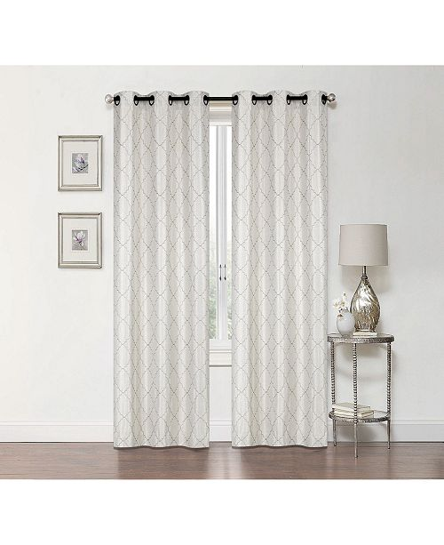 """Regal Home Lakewood Embroidery Blackout Grommet Curtain, 84"""" x 50"""""""