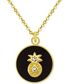 """PIXIE POSEY Gold-Tone Crystal Pineapple 18"""" Pendant Necklace"""