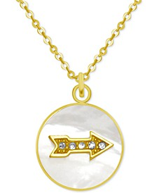 "Gold-Tone Crystal Arrow Mother-of-Pearl 18"" Pendant Necklace"