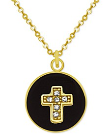 """Gold-Tone Crystal Cross 18"""" Pendant Necklace"""