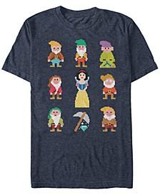 Disney Men's Snow White Pixelated Dwarf Crew Short Sleeve T-Shirt