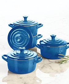 Stoneware Set of 4 Cocottes with Cookbook