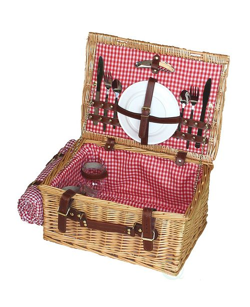 Playberg Picnic Suitcase Basket with Accessories, Servings for 2