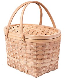 Chip Picnic Basket with Cover and Drop Down Handles, Extra Large Wood