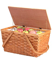 Large Woodchip Picnic Basket with Lining and Wooden Lid