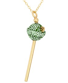 18K Gold over Sterling Silver Necklace, Lime Green Crystal Mini Lollipop Pendant