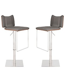 Today's Mentality Lyana Modern Adjustable Barstool in Brushed Stainless Steel with Faux Leather and Walnut Back - Set of 2