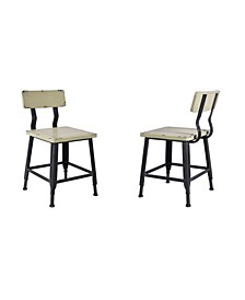 Attila Industrial Metal Dining Chair in Brushed with Antique  Wood Seat and Back - Set of 2