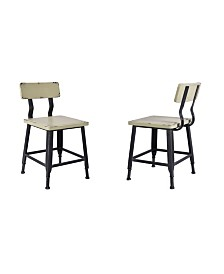 Today's Mentality Attila Industrial Metal Dining Chair in Brushed with Antique  Wood Seat and Back - Set of 2