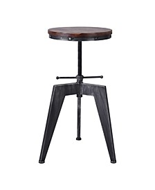 Simon Industrial Backless Adjustable Metal Barstool in Brushed with Rustic Pine Wood Seat