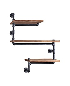 Panama Industrial Floating Brushed Pipe Wall Shelf with Walnut Wood