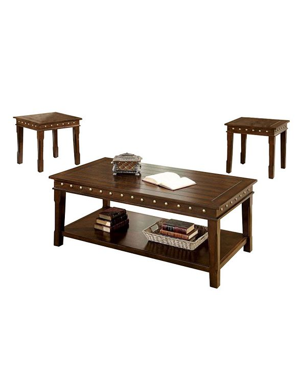 Benzara Wooden Coffee and End Tables Set