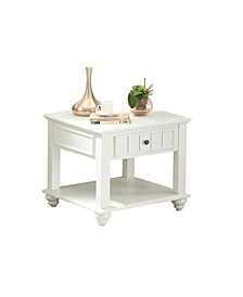 Wooden End Table with One Drawer and Bottom Shelf