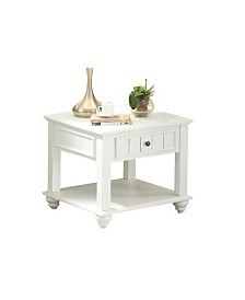 Benzara Wooden End Table with One Drawer and Bottom Shelf