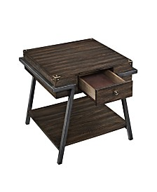 Benzara Wooden End Table with One Drawer and One Shelf