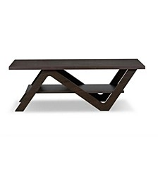 Wooden Coffee Table with Open Bottom Shelf
