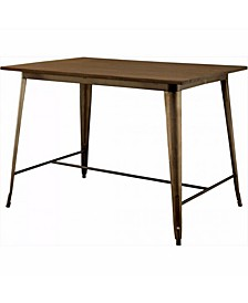 Wooden Counter Height Table with Metal Legs