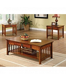 Wooden Table Set with One Drawe