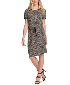 DKNY Leopard-Print Drawstring Dress