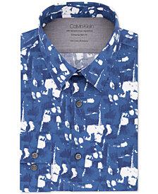 Calvin Klein Men's Extra-Slim Fit Temperature Regulation Performance Stretch Print Dress Shirt