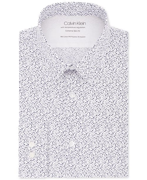 Calvin Klein Men's Extra Slim-Fit Performance Stretch Temperature Regulating Abstract-Print Dress Shirt